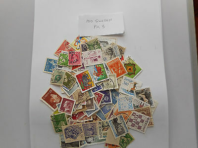 100 Used Postage Stamps From Sweden Pk 3 No Doubles