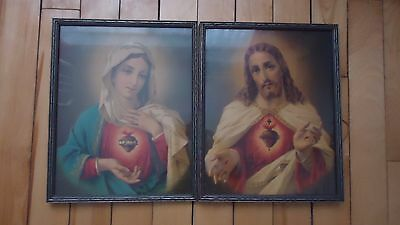 """2 VINTAGE Framed Religious Picture   Mary & Jesus Christ 15"""" x 12"""""""