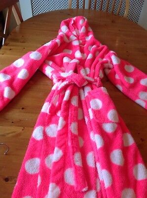 Girls Spotty Hooded Dressing Gown M&S Age 11-12 Years
