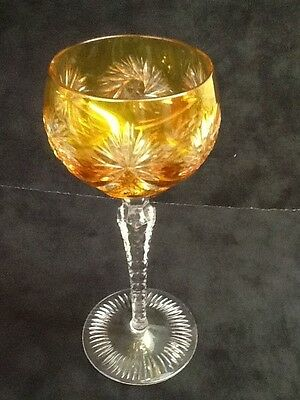 Bohemian YELLOW Cut to Clear Hock Wine Glass