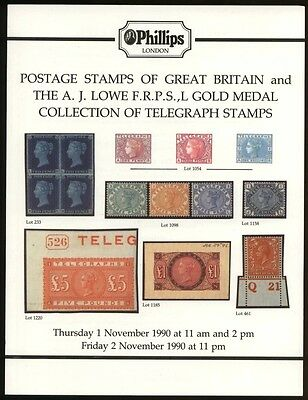 GREAT BRITAIN & GB TELEGRAPH STAMPS, the Lowe collection, 1990 auction catalogue