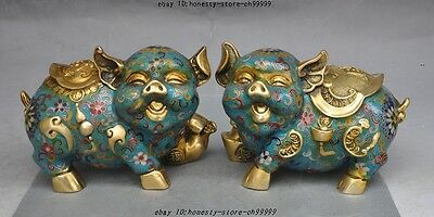 "7"" Lucky Chinese bronze Cloisonne Enamel wealth yuanbao money coin statue pair"