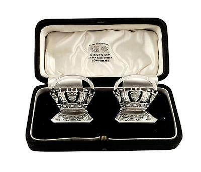 Pr Antique Sterling Silver 'naval Crowns' Menu/name Card Holders In Case 1935