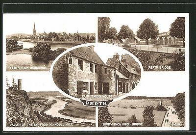 tolle AK Perth, Valley of the Tay, Fair Maid´s House and Perth Bridge