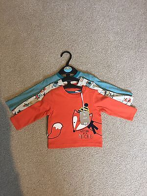 BNWT Tu Sainsbury's Boys 3 Pack Long Sleeve Tops 0-3 Months
