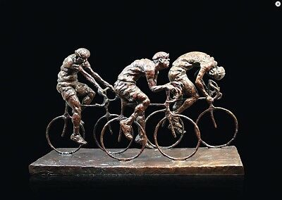 Wheels On Fire Cyclists Solid Bronze Foundry Cast Sculpture Michael Simpson 913