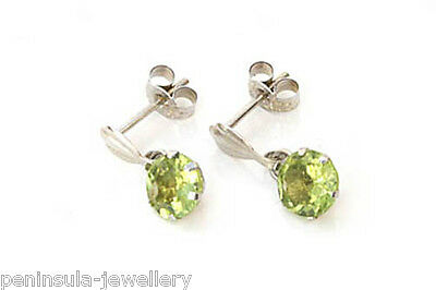 9ct White Gold Peridot Drop Earrings Gift Boxed Made in UK