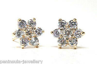 9ct Gold Lilac CZ Cluster studs earrings Gift Boxed Made in UK