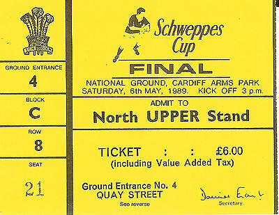 NEATH v LLANELLI 6 MAY 1989 WELSH CUP FINAL RUGBY TICKET