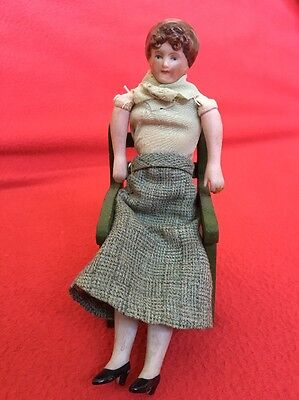 Antique Bisque Dolls House Lady Doll, 1/12 Scale, C 1900