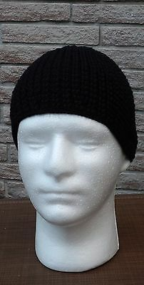 two black knit merino wool and cotton beanie caps  size 60 -SJS