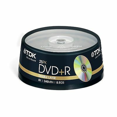 Tdk Dvd+R Dl 240 Mins 8.5Gb 8X Speed Recordable Blank Disc - 25 Pack Spindle