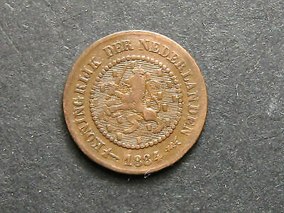 1884 Netherlands 1/2 Cent Coin Km #109.1