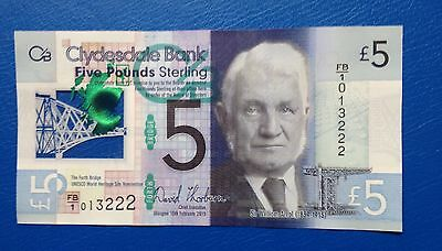 FB/1 Serial Number Clydesdale Bank £5 Five Pound Note (Plastic Polymer) 2015