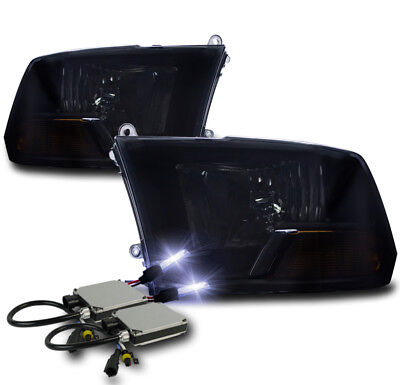 09-18 Dodge Ram 1500/10+ 2500 3500 Crystal Headlights Lamp Black/Smoke W/10K Hid