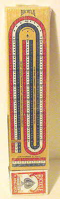 Wooden Cribbage Board by Bicycle 3 Track with New Cards for 2-4 Players New