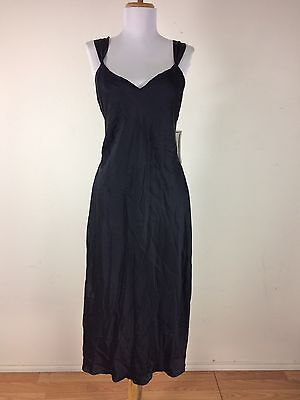 NWT Vintage 1990s Black Silk Slip Private Image Size Large
