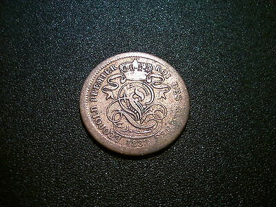 1833 Belgium 2 Centimes Coin. Lovely Tone