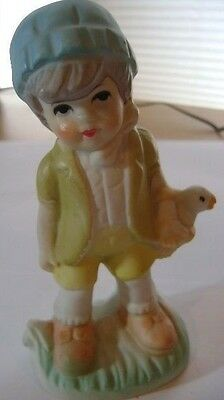 "porcelain ""boy with a Chick in the basket"" figurine 5"""