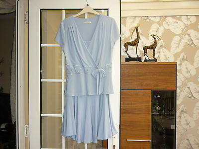 Gina Bacconi skirt suit, size 10 skirt, 12 top, pastel blue, used for 2 weddings