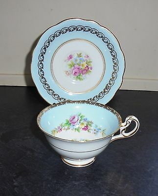 """Vintage Tea Cup & Saucer """"Duo"""" By Foley - Blue"""