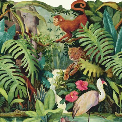 "Brothers and Sisters V Jungle Scenic 15' x 23.88"" Tropical Borders Wallpaper"
