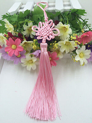 Chinese knot auspicious knot tassel delicate rayon junction Hang knot Pink@