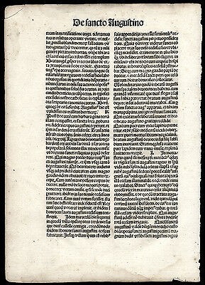 1481 Incunable Leaf From The Handbbok for Parish Priests Guy de Montrocher