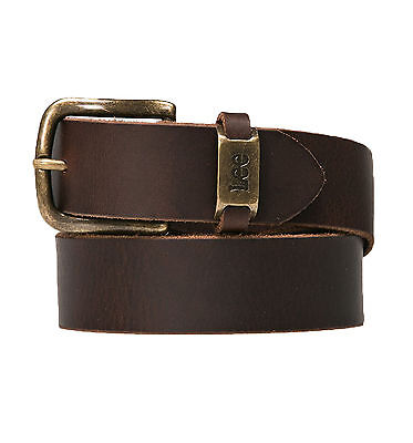 LEE New Men's Dark Brown Branded Logo 100% Buffalo Leather Metal Buckle Belt