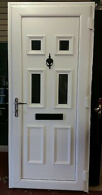 pvc white door with frame, spyhole knocker and letter box