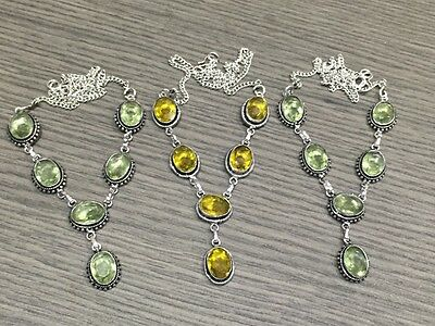 Wholesale Lot 3 pcs Citrine & Green Amethyst Stone.925 Silver Plated Necklace