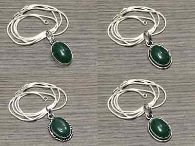 WHOLESALE LOT 4 pcs GREEN ONYX STONE.925 SILVER OVERLAY PENDANT CHAIN NECKLACE