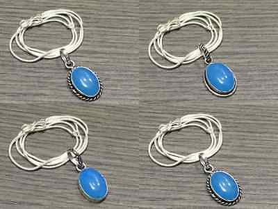 WHOLESALE LOT 4 pcs CHALCEDONY STONE.925 SILVER OVERLAY PENDANT CHAIN NECKLACE