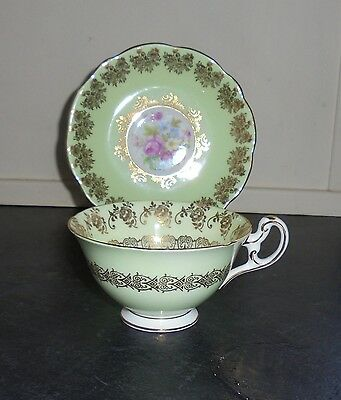 """Vintage Tea Cup & Saucer """"Duo"""" By Foley - Green"""