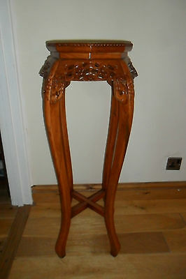 Lovely Chinese Carved Hardwood Marble Top Jardiniere Stand 92cm tall. Good cond