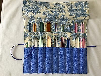 10.5 inch Knitting Needle Case- BLUE TOILE