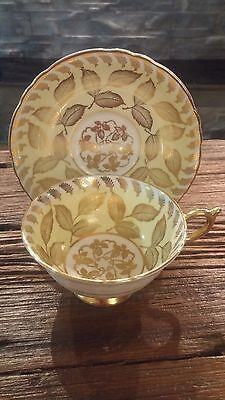 Vintage Paragon Yellow Gold Gilt with Leaves Tea Cup and Saucer Antique