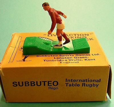 """# Subbuteo Rugby """"live Action"""" Kicking Fullback, Red Top, White Shorts. Lot 1"""
