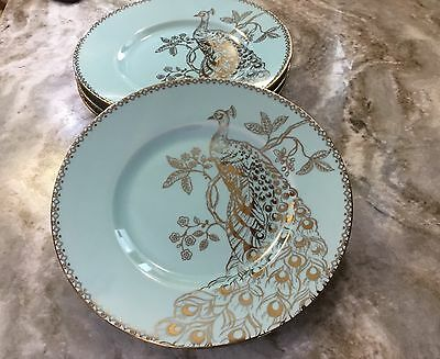 222 Fifth Peacock Garden Turquoise Gold Salad Plates. Set Of 4. Beautiful.  New