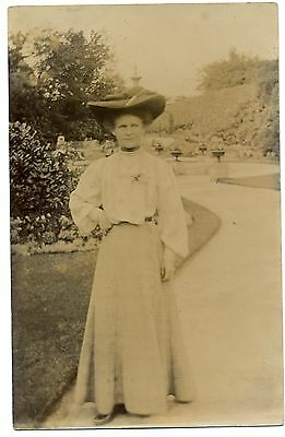 Real Photo Lady In Edwardian Dress Large Hat Old Postcard