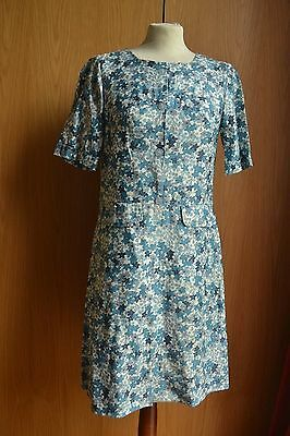 Vintage 1950s Blue and White Floral Dress 12 14