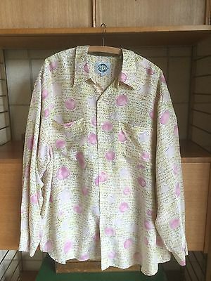Vintage Silk Shirt Retro Star And Words Print Blouse Top 80s  XL