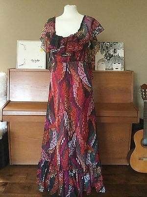 Vintage 1970s Maxi Dress Colourful Print By California 10 12 Hippy Festival