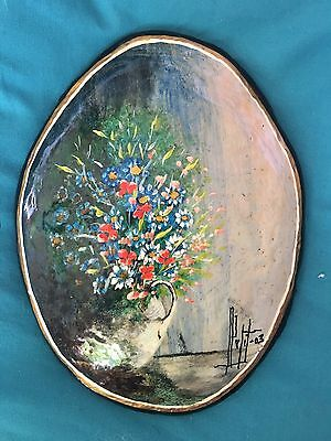 Pretty Hand Painted Plaque Of Flowers In A Vase