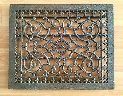 Old Vtg Antique Cast Iron Heat Vent Fleur De Lis Architectural Floor Grate