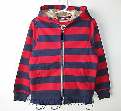 HANNA ANDERSSON Supercozy Fleece Lined Hoodie Jacket Red Navy 120 6-7 NWT