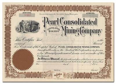 Pearl Consolidated Mining Company Stock Certificate