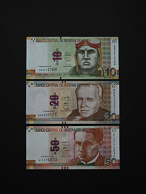 Peru Banknotes  -  Excellent Set Of Three  Quality Notes   *  Mint Unc  *