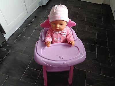 baby born bundle,16 inch doll in playsuit +hat and highchair