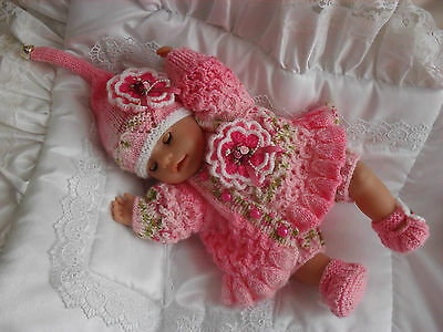 """Hand Knitted Matinee Set For A 16""""-18"""" Reborn Fantasy Doll Suit Pixie/Fairy/Elf"""